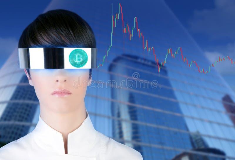 Comerciante futurista de Bitcoin BTC da mulher dos vidros fotos de stock royalty free