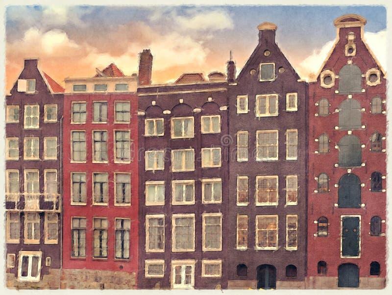 Comerciante Houses Watercolour de Amsterdam ilustración del vector