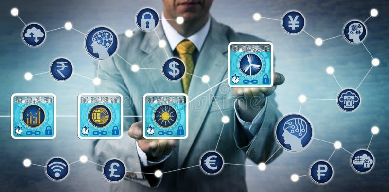 Comerciante Preparing Blockchain Transactions da energia fotos de stock royalty free