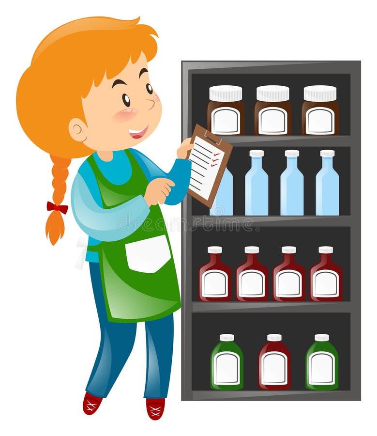 Comerciante que mira productos en estantes libre illustration