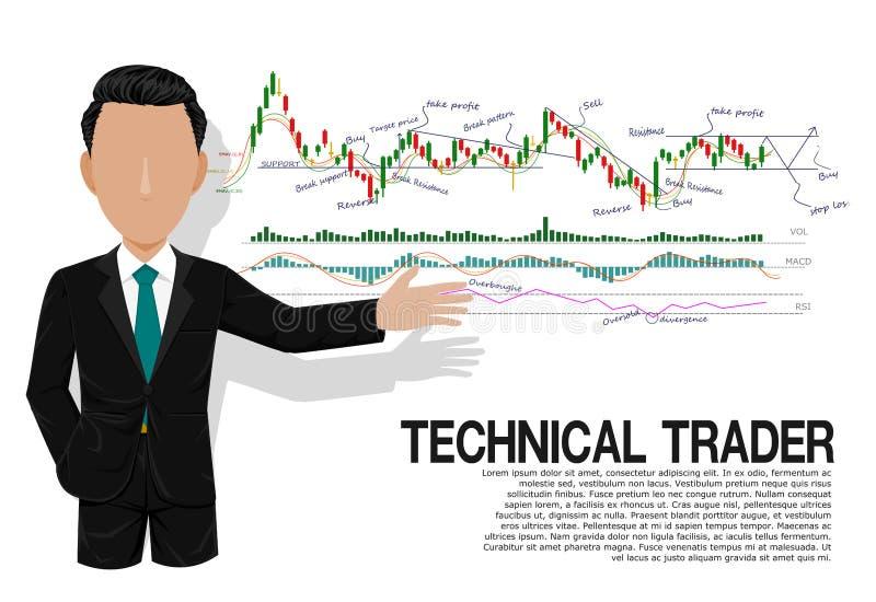 Comerciante técnico elegante stock de ilustración