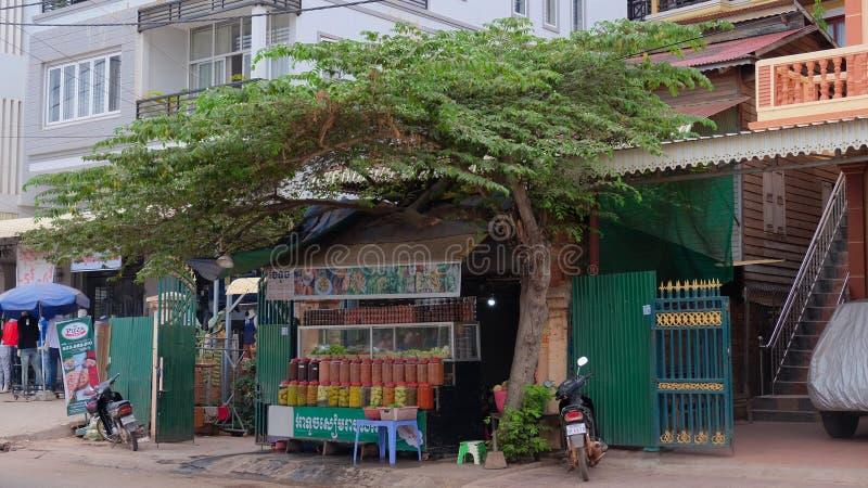 Comercio de la calle en las especias y las frutas exóticas, porciones de tarros multicolores con las especias, un árbol cerca del fotos de archivo libres de regalías