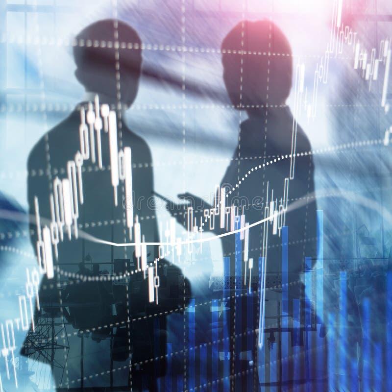 Comercio de las divisas, mercado financiero, concepto de la inversión en fondo del centro de negocios imágenes de archivo libres de regalías
