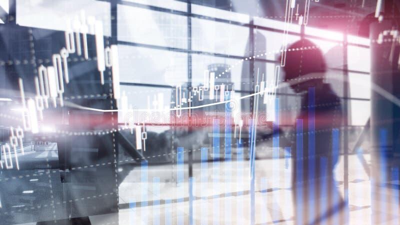 Comercio de las divisas, mercado financiero, concepto de la inversi?n en fondo del centro de negocios imagen de archivo libre de regalías