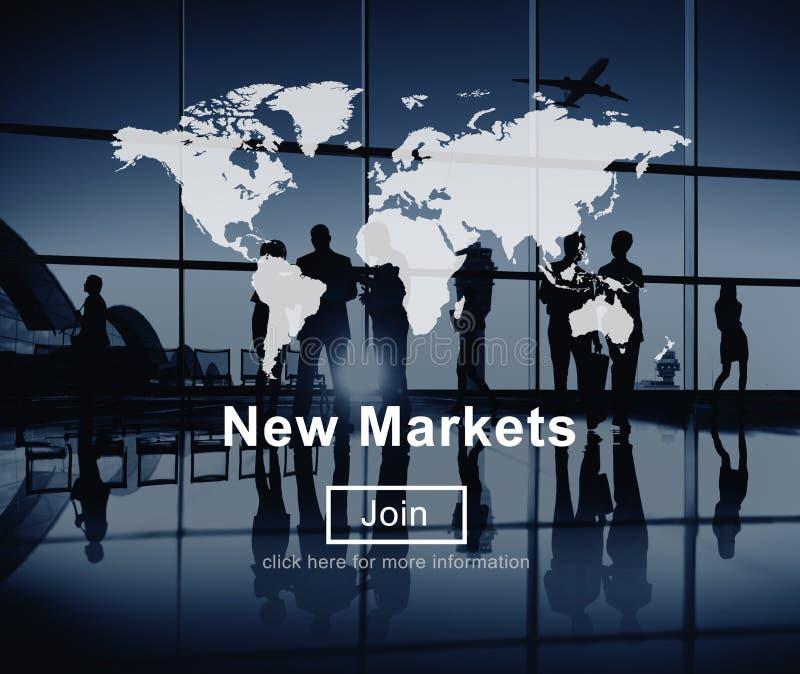 Comercio de los nuevos mercados que vende concepto del márketing de negocio global foto de archivo libre de regalías