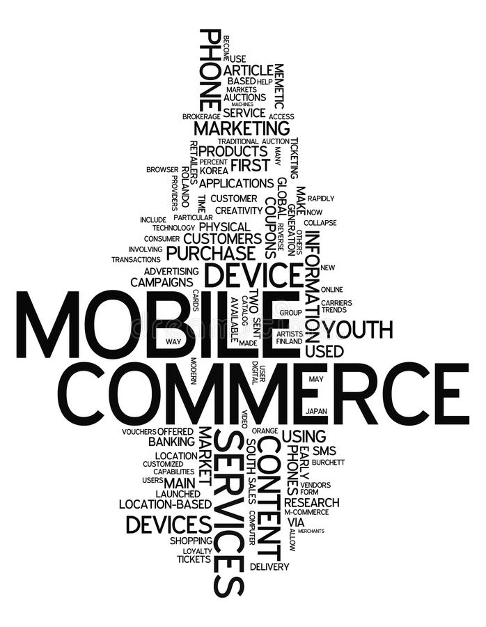 Comercio del móvil de la nube de la palabra ilustración del vector