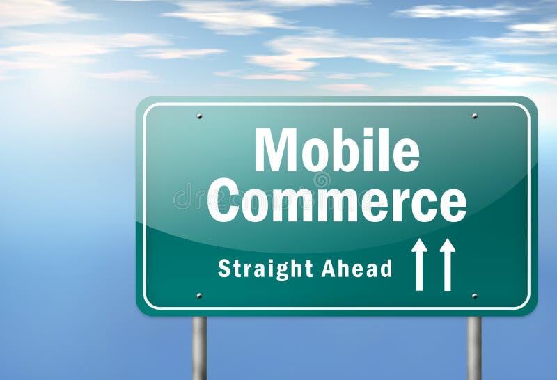Comercio del móvil del poste indicador de la carretera ilustración del vector
