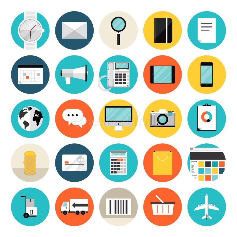 Comercio electrónico e iconos planos que hacen compras stock de ilustración