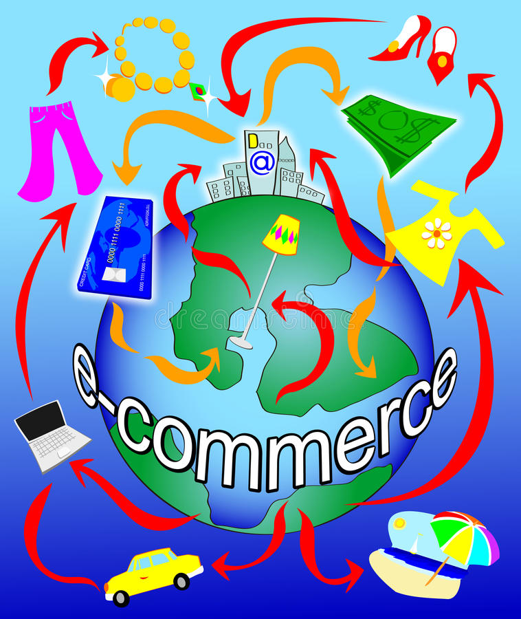 Comercio electrónico en el planeta stock de ilustración
