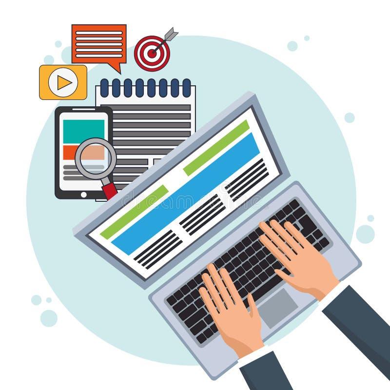 Comercio electrónico en línea de la promoción del márketing de Digitaces libre illustration