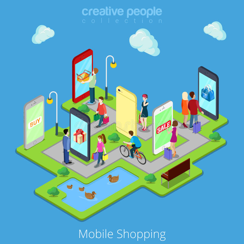 Comercio electrónico móvil isométrico del web plano 3d electrónico stock de ilustración