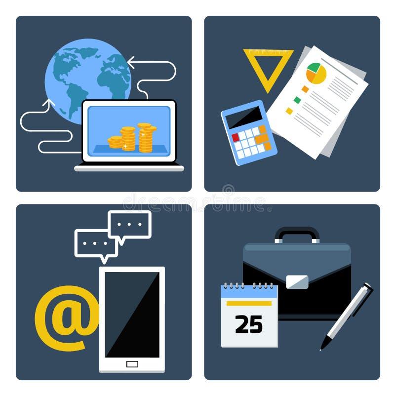 Comercio electrónico, negocio y medios sociales libre illustration