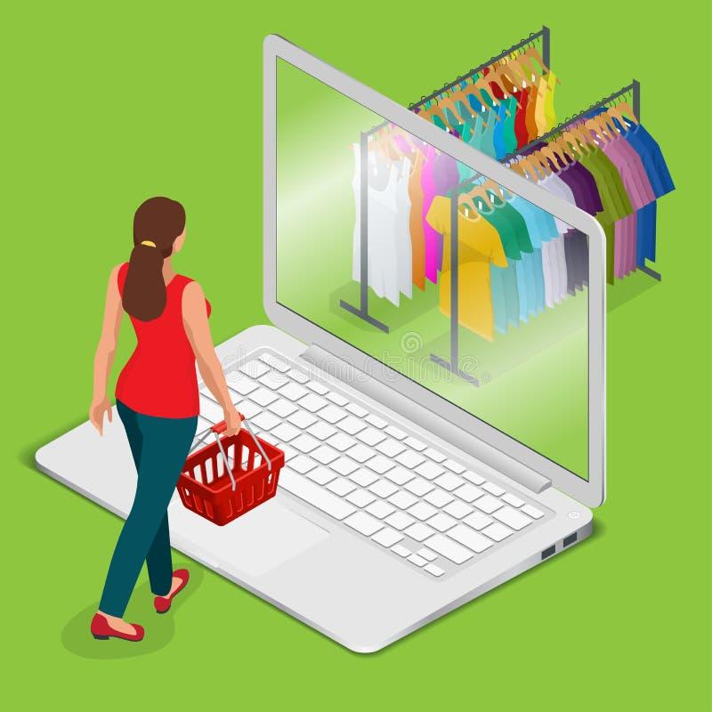 Comercio electrónico, paga en línea y concepto en línea de las compras Web plano 3d de las compras de la tienda en línea móvil de stock de ilustración