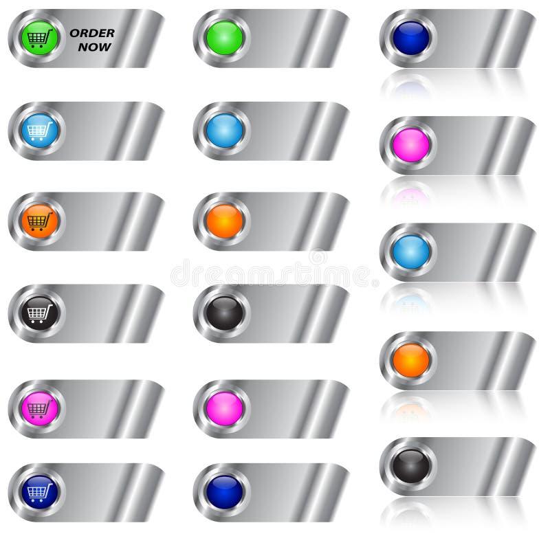 Comercio electrónico y conjunto en blanco del botón/del icono stock de ilustración