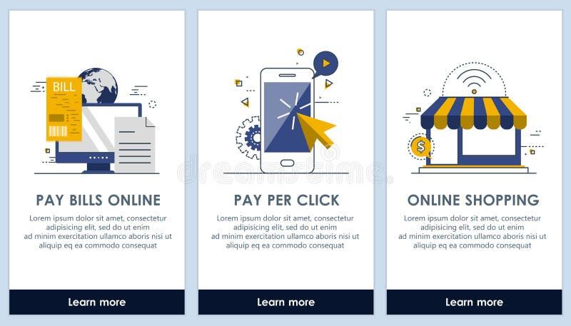 Comercio electrónico y proyectos ley de remuneración planos del diseño en la línea pantallas del app Interfaz de usuario moderna  ilustración del vector