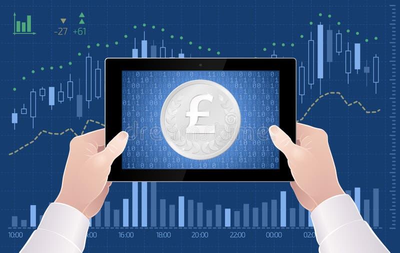 Comercio en línea del intercambio BRITÁNICO de Sterling Currency On The Stock de la libra libre illustration