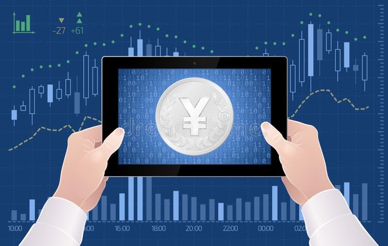 Comercio en línea del intercambio de Yen Currency On The Stock del japonés libre illustration