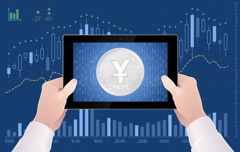 Comercio en línea del intercambio de Yuan Currency On The Stock del chino stock de ilustración