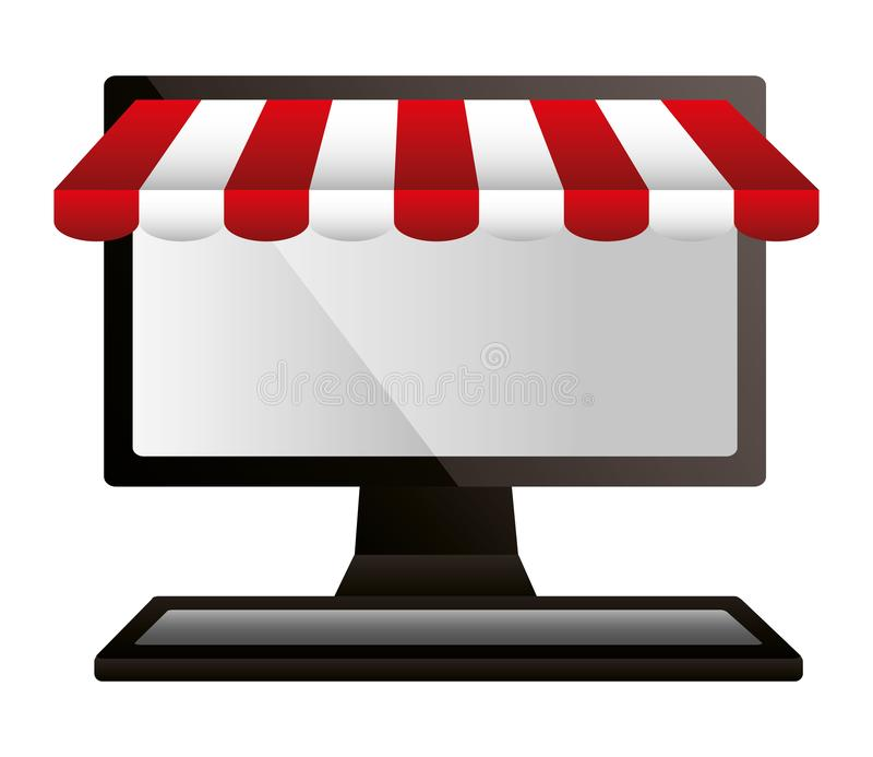 Comercio en l?nea del mercado de ordenadores que hace compras libre illustration