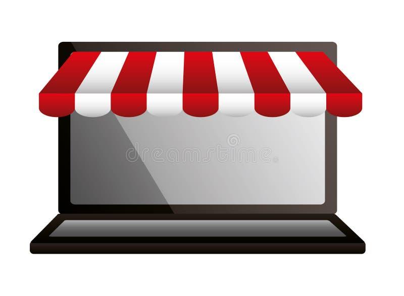 Comercio en línea del mercado del ordenador portátil que hace compras stock de ilustración