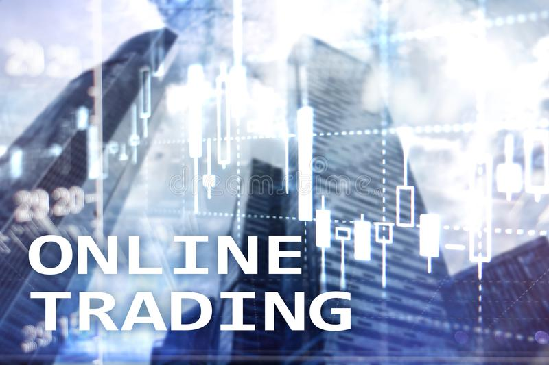 Comercio en línea, DIVISA, concepto de la inversión en fondo borroso del centro de negocios fotos de archivo libres de regalías