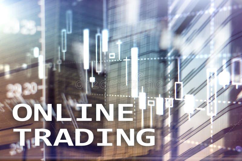 Comercio en línea, DIVISA, concepto de la inversión en fondo borroso del centro de negocios fotografía de archivo libre de regalías