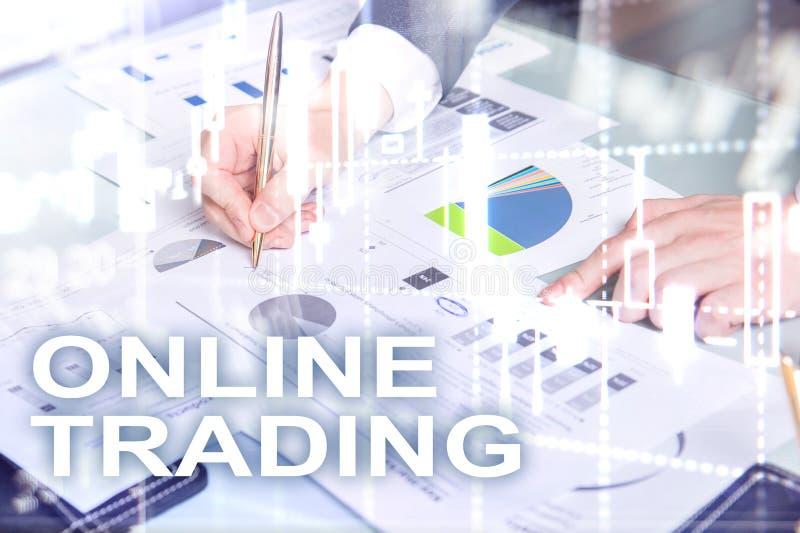 Comercio en línea, DIVISA, concepto de la inversión en fondo borroso del centro de negocios imágenes de archivo libres de regalías