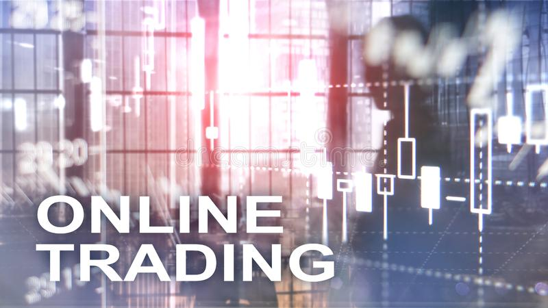 Comercio en línea, DIVISA, concepto de la inversión en fondo borroso del centro de negocios imagen de archivo