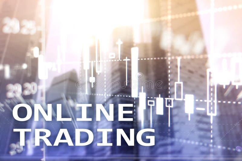 Comercio en línea, DIVISA, concepto de la inversión en fondo borroso del centro de negocios fotografía de archivo