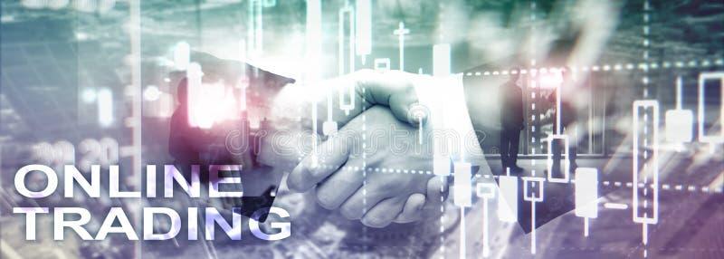 Comercio en línea, DIVISA, concepto de la inversión en fondo borroso del centro de negocios foto de archivo