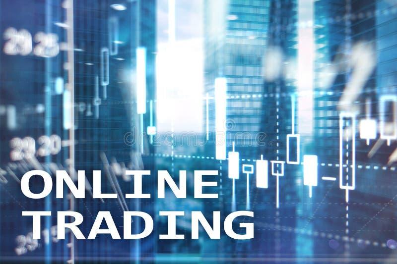 Comercio en línea, DIVISA, concepto de la inversión en fondo borroso del centro de negocios foto de archivo libre de regalías