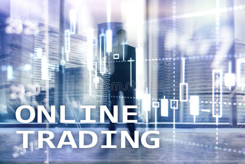 Comercio en línea, DIVISA, concepto de la inversión en fondo borroso del centro de negocios imagenes de archivo