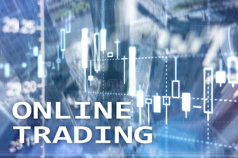 Comercio en línea, DIVISA, concepto de la inversión en fondo borroso del centro de negocios fotos de archivo