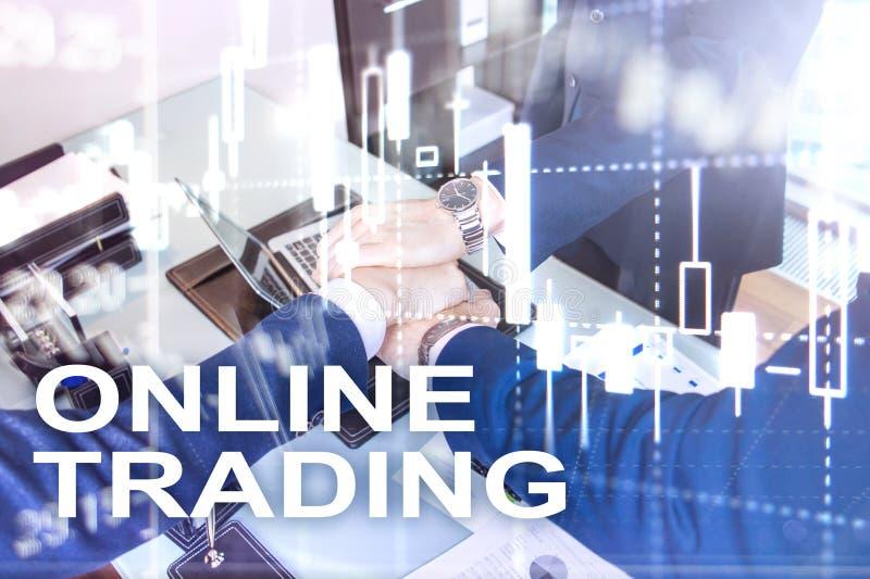Comercio en línea, DIVISA, concepto de la inversión en fondo borroso del centro de negocios imagen de archivo libre de regalías