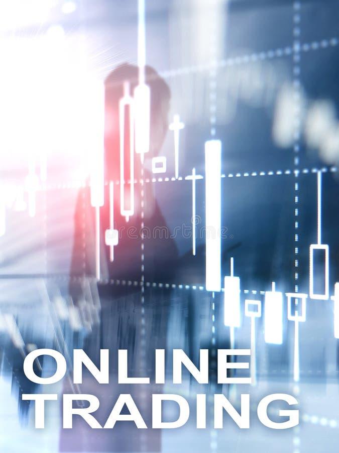 Comercio en línea, DIVISA, concepto de la inversión en fondo borroso del centro de negocios Formato vertical del diseño abstracto foto de archivo