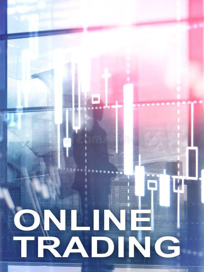 Comercio en línea, DIVISA, concepto de la inversión en fondo borroso del centro de negocios Formato vertical del diseño abstracto fotos de archivo