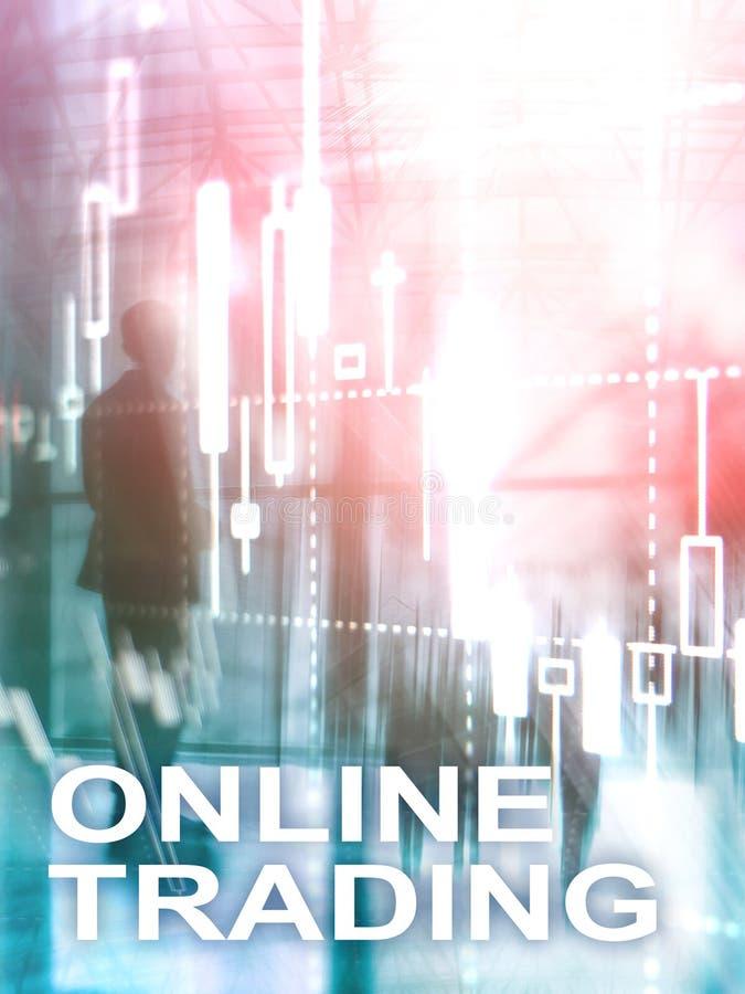 Comercio en línea, DIVISA, concepto de la inversión en fondo borroso del centro de negocios Formato vertical del diseño abstracto foto de archivo libre de regalías