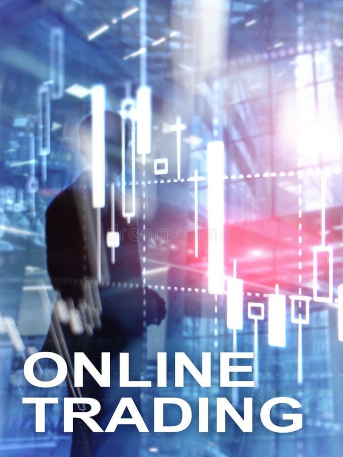 Comercio en línea, DIVISA, concepto de la inversión en fondo borroso del centro de negocios Formato vertical del diseño abstracto imagen de archivo