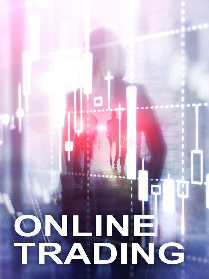 Comercio en línea, DIVISA, concepto de la inversión en fondo borroso del centro de negocios Formato vertical del diseño abstracto fotografía de archivo libre de regalías