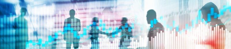 Comercio en línea, DIVISA, concepto de la inversión en fondo borroso del centro de negocios Portada del sitio web foto de archivo libre de regalías