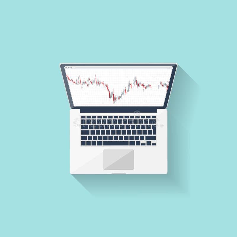 Comercio en línea Divisas Estilo plano Inversión en Internet Ilustración del vector Noticias de mercado libre illustration