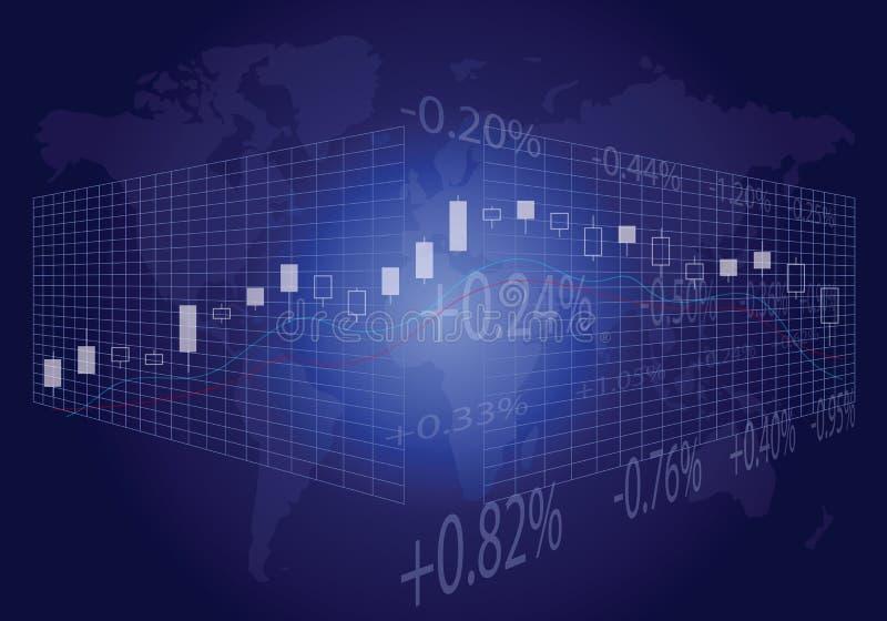 Comercio global en azul ilustración del vector