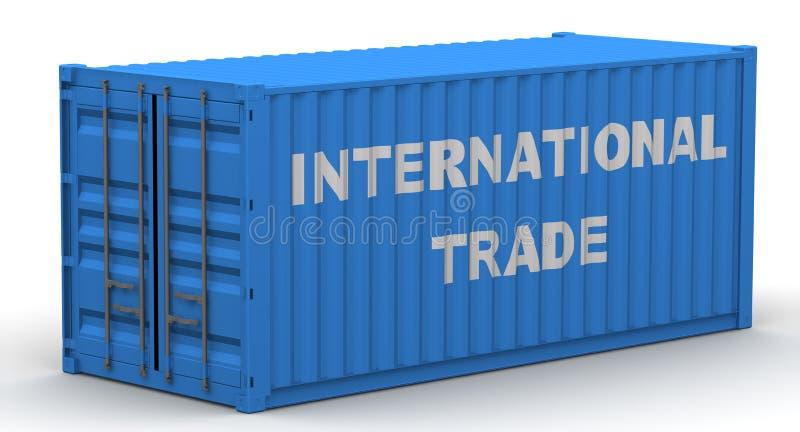 Comercio internacional Contenedor para mercanc?as etiquetado libre illustration