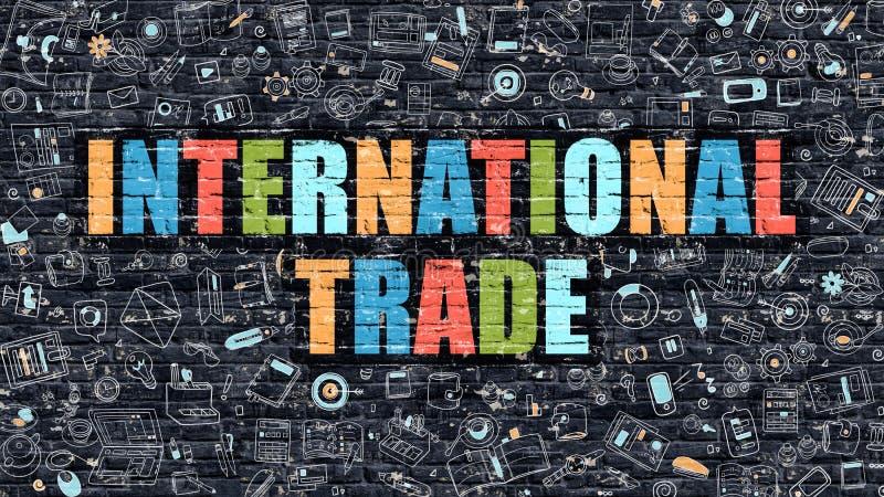 Comercio internacional multicolor en Brickwall oscuro Doodle el estilo stock de ilustración