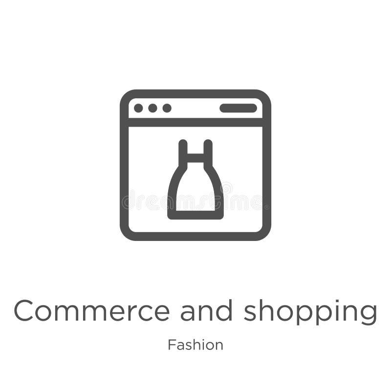 comercio y vector del icono que hace compras de la colección de la moda Línea fina comercio y ejemplo del vector del icono del es ilustración del vector