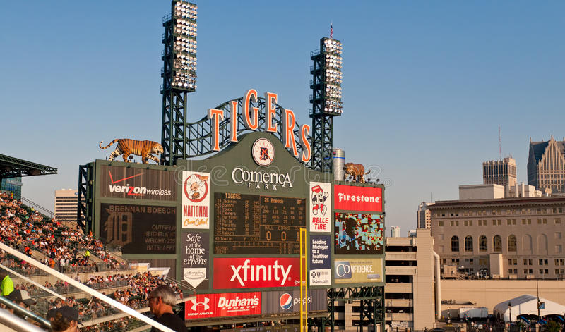 Comerica Park Scoreboard royalty free stock images