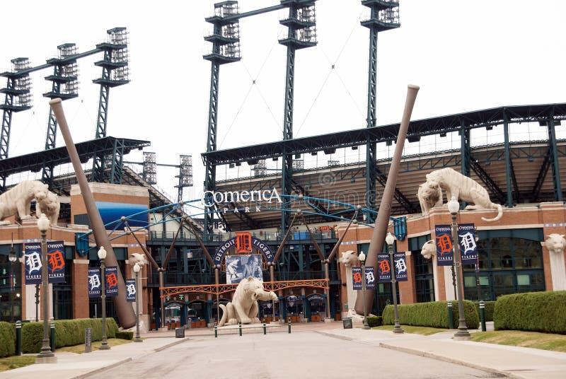 Comerica parkerar hemmet av Detroit Tigers i detroit Michigan arkivbilder