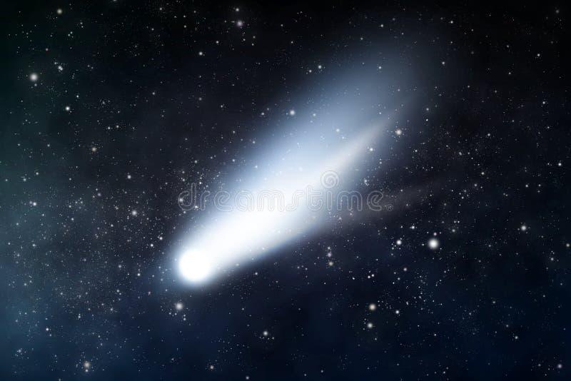 Comet. Starry space scene with comet