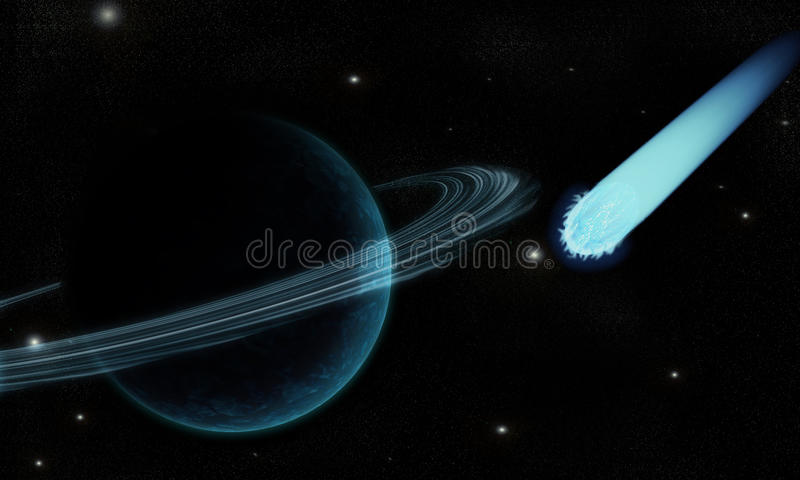 Comet in cosmos royalty free stock photos