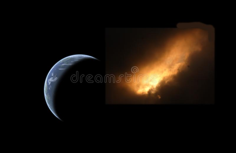 Comet and earth royalty free stock photo